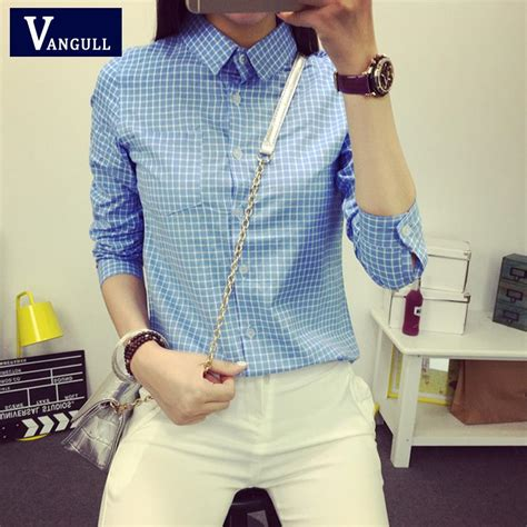 Classic Grid Blouse 27835 aliexpress buy plaid blouse 2015 new small casual lapel shirt ol sleeve cotton