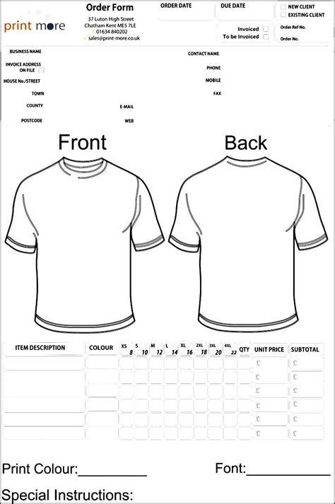 free order form template word free printable business forms