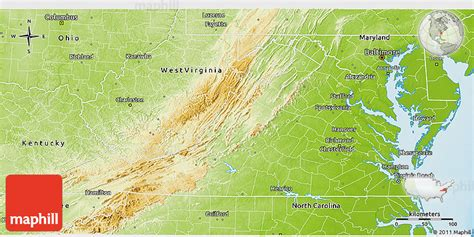 physical map of virginia physical 3d map of virginia