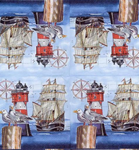 Napkin Decoupagetissue Decoupagelighthouse Sea decoupage paper napkins of harbor seagulls with lighthouse and ship