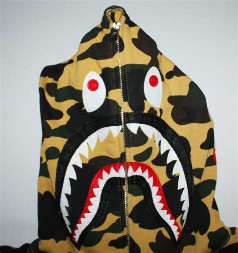 Bape Shark Ponr Zip Hoodie Yellow yellow camo ponr bape shark hoodie dopestudent