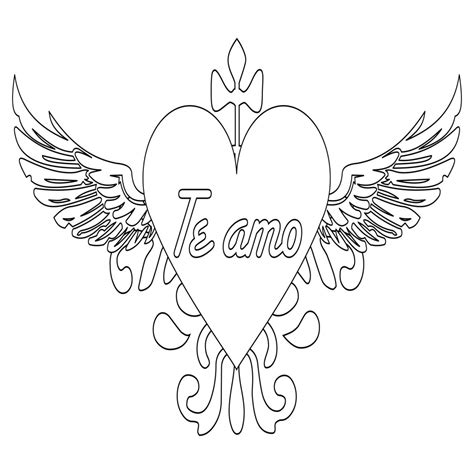 imagenes para colorear y dibujar dibujos de corazones con alas para dibujar y colorear