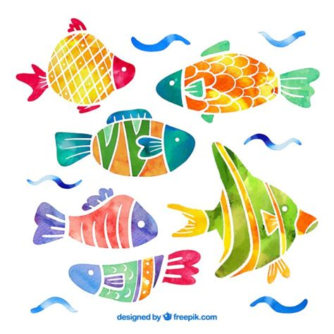 vector watercolor fish patterns download free vector art collection of fish in watercolor effect vector free download