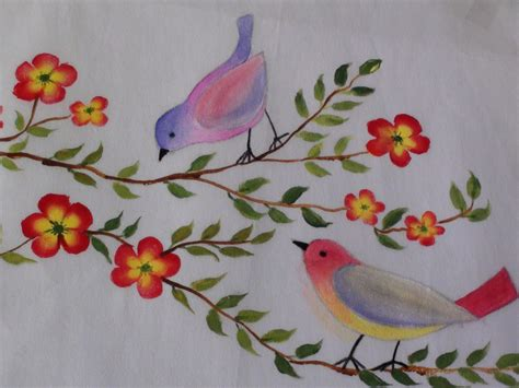 any design of flowers birds and flowers fabric painting tutorial 14