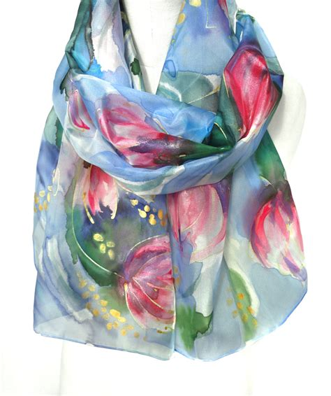 tulips scarf painted silk scarf floral gift genuine