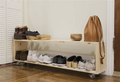 small space diy  perfect shoe rack   narrow entryway