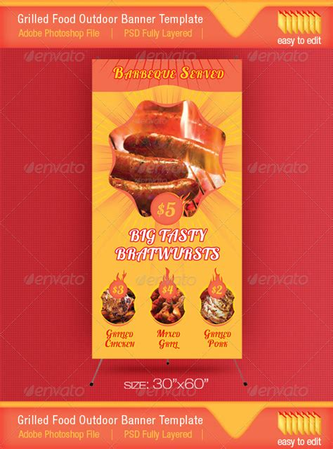 Barbeque Served Food Outdoor Banner Template By Divefast Graphicriver Food Banner Design Template Free