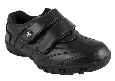 velcro school shoes boys leather look velcro trainers school shoes black small