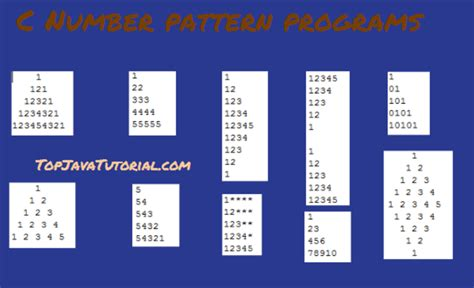 different pattern in c 10 different number pattern programs in c top java tutorial