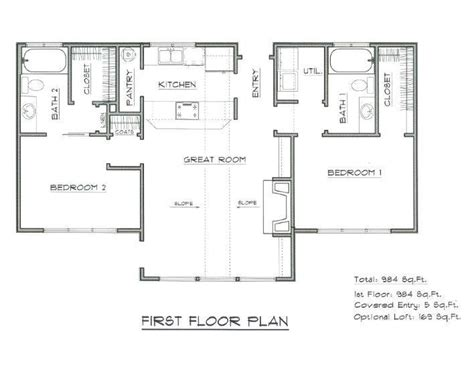vacation cabin plans house plan 984 sf vacation home cabin design blueprint