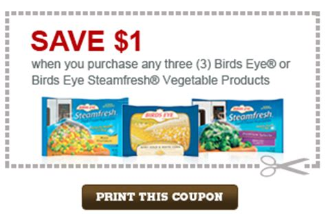printable frozen vegetable coupons 1 3 birds eye or birds eye steamfresh vegetables