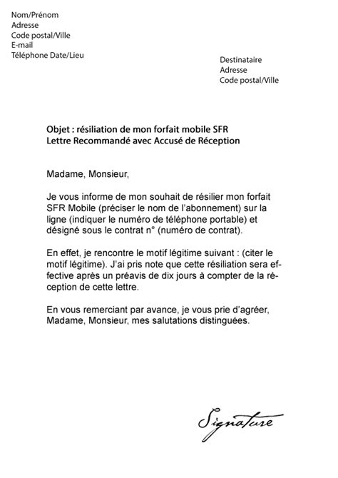 Modification Contrat De Travail Apres Cession by Lettre De R 233 Siliation Sfr Mobile Mod 232 Le De Lettre
