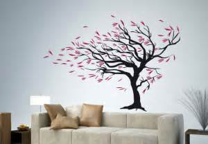 blowing tree the wind wall decal stormy weather floral decor vinyl lotus flower art design murals interior sticker