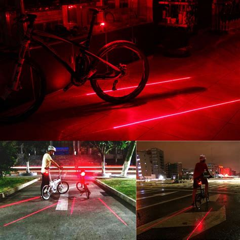 Lu Sepeda Raypal 5 Leds Light For Bicycle bicycle laser strobe taillight 5 led lu led sepeda black jakartanotebook
