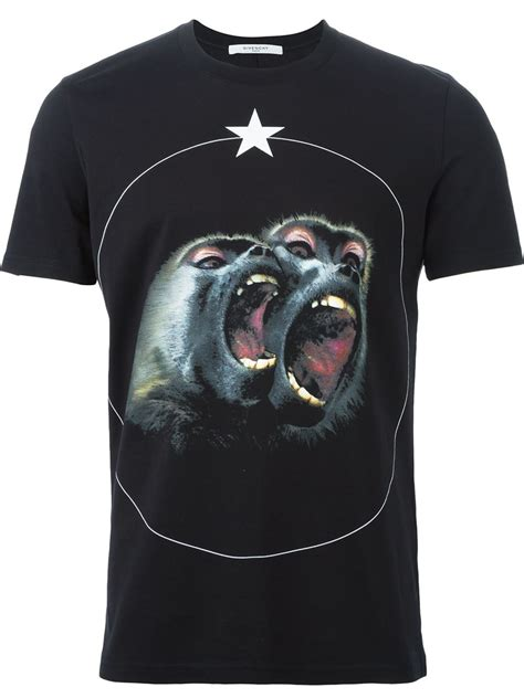 Monkey Print Sleeve T Shirt givenchy monkey print t shirt in black for lyst