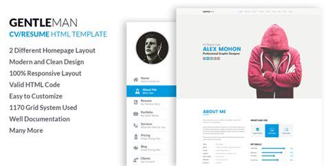 responsive html cv template gentleman responsive cv resume html template by labartisan themeforest
