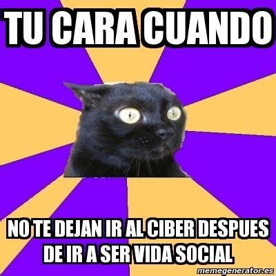 Anxiety Cat Meme Generator - meme anxiety cat tu cara cuando no te dejan ir al ciber