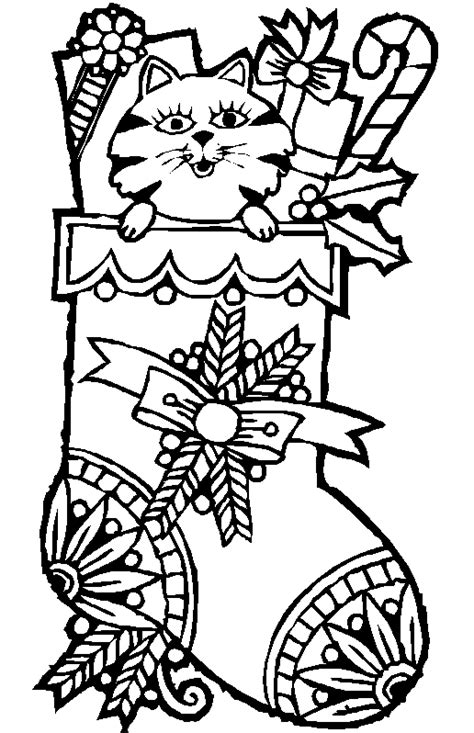 coloring page christmas cat coloring me