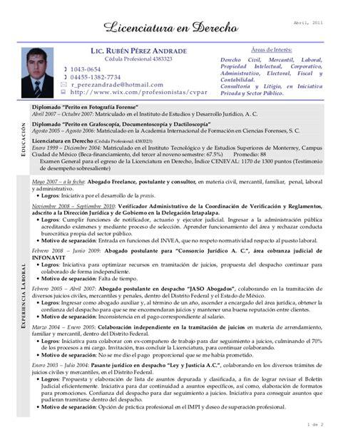 Modelo Curriculum Vitae Licenciado Derecho Cv Derecho Rpa Abril 11