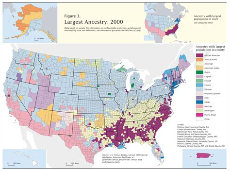 best map census 2000 data top us ancestries by county map us