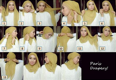 tutorial hijab paris pesta modern cara memakai jilbab paris segi empat simple 3 car