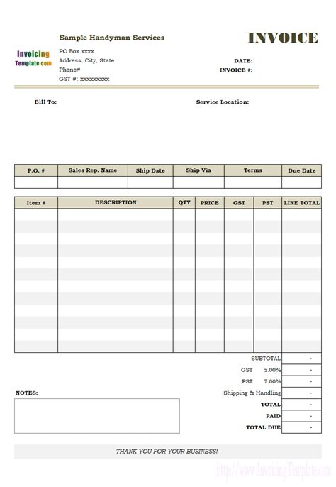 Handyman Service Receipt Template by Handyman Invoice Template