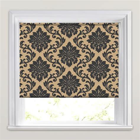 retro patterned roller blind charcoal beige vintage damask patterned roller blinds