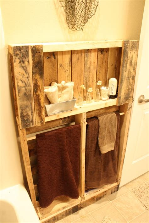 pallet ideas for bathroom pallet turned bathroom shelving home accessory ideas