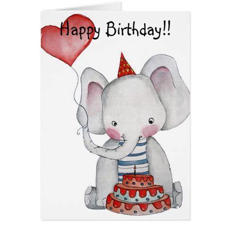 Elephant Birthday Cards Birthday Elephant Card Zazzle