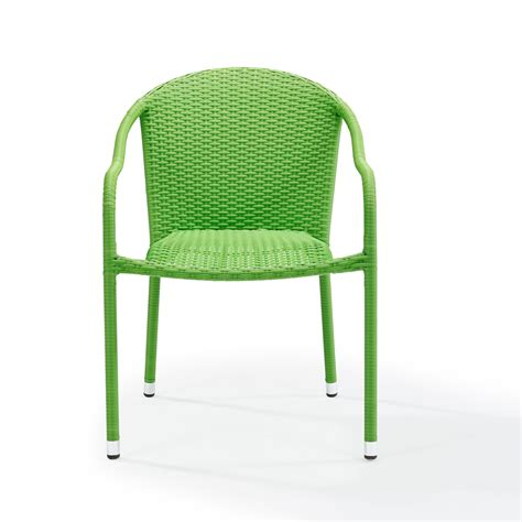 Green Patio Chair by Palm Harbor Green Outdoor Wicker Stackable Chair Set Of 4