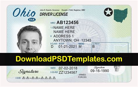 ohio drivers license template ohio driver license psd oh driving license editable template