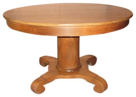 Antique Oak Round Pedestal Table With 2 Leaves 1 500 Antique Pedestal Dining Table