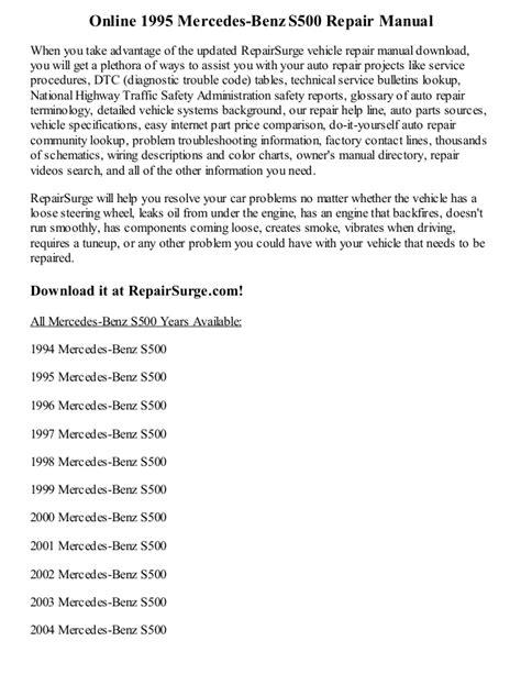 online car repair manuals free 1995 mercedes benz s class parking system 1995 mercedes benz s500 repair manual online