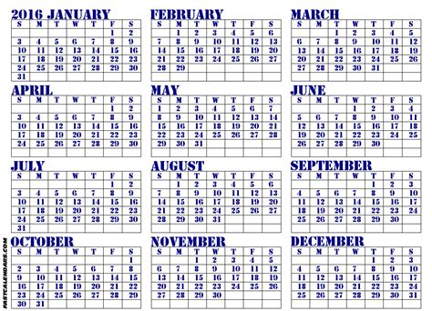printable calendar year to view 2016 blank year calendars 2016 printable calendar template 2016