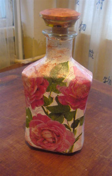 Decoupage Bottles - glass bottle decoupage diy crafts decoupage ideas