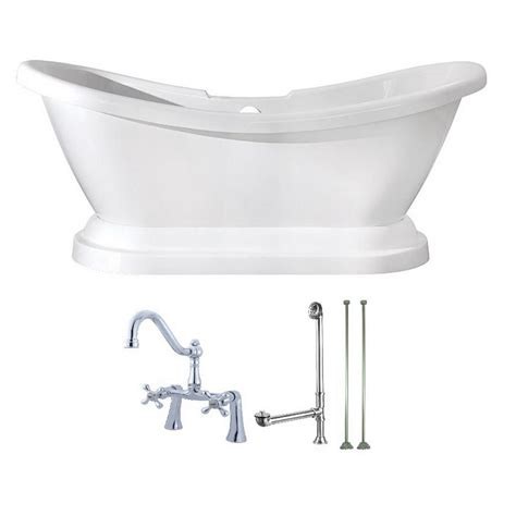 pedestal bathtub for sale aqua eden pedestal 5 8 ft acrylic flatbottom bathtub in