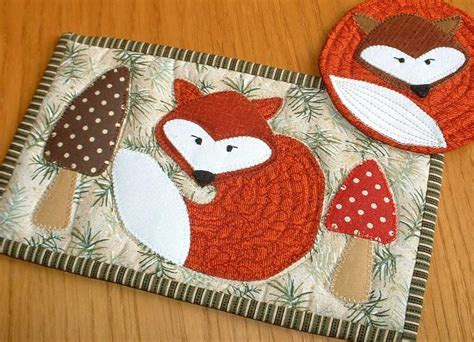 Mug Rug Patterns by Fox Mug Rug And Coaster By The Patchsmith Quilting Pattern