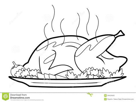 roast chicken coloring page roasted chicken stock photos image 34424943