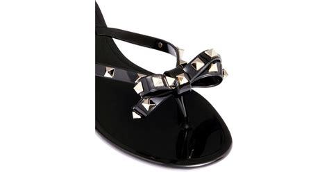 black bow flat sandals valentino rockstud bow flat jelly sandals in black for