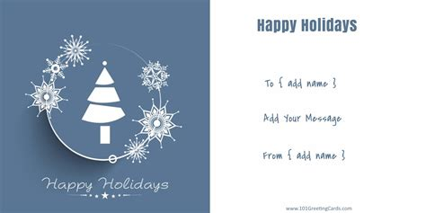 blue and white christmas card that can be personalized online