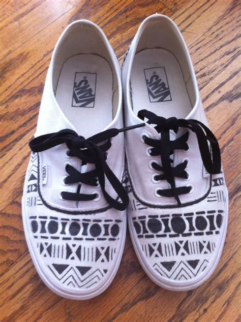 Tribal Pattern Vans | black on white aztec tribal pattern vans shoes pinterest