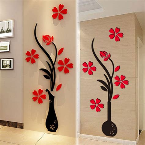 home decor wall art stickers 3d vase flower tree crystal arcylic wall stickers decal