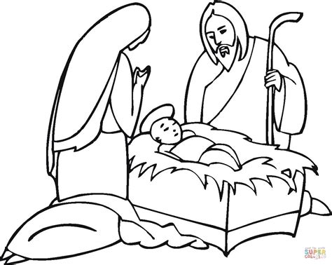 joseph and maria near little jesus coloring page free