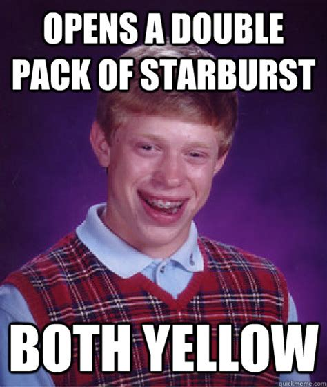 Starburst Meme - opens a double pack of starburst both yellow bad luck