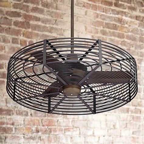 caged outdoor ceiling fans 32 quot vintage bronze black cage ceiling fan