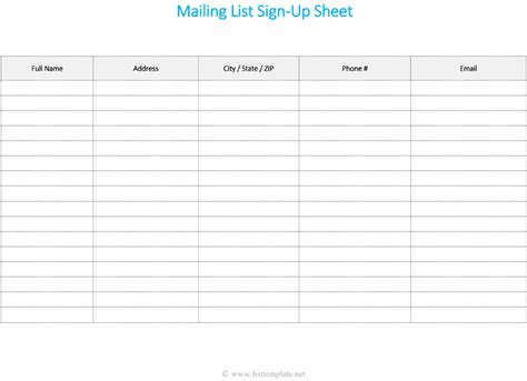email list template free printable mailing list template for word list templates
