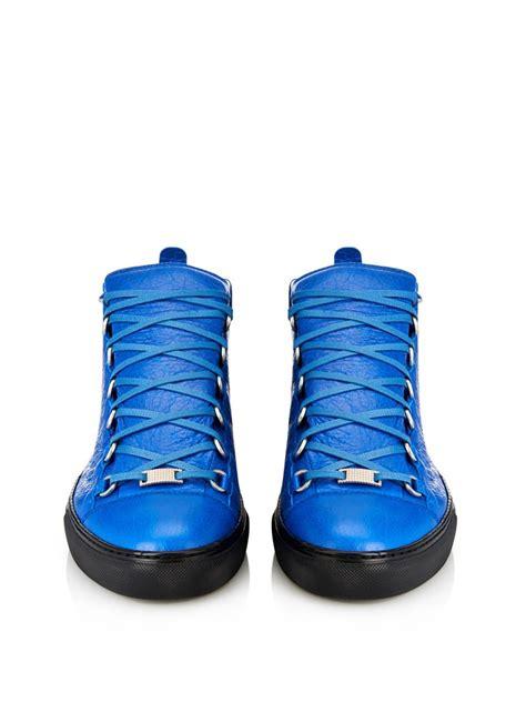 blue balenciaga arena sneakers balenciaga arena leather high top sneakers in blue for