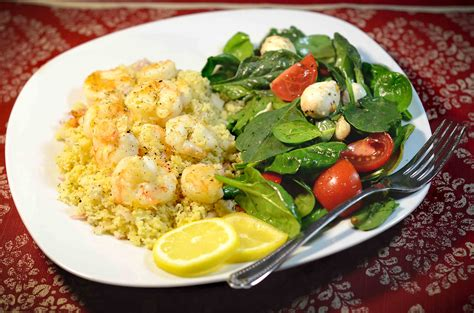dinner food lemon and dill shrimp with cous cous my real food family