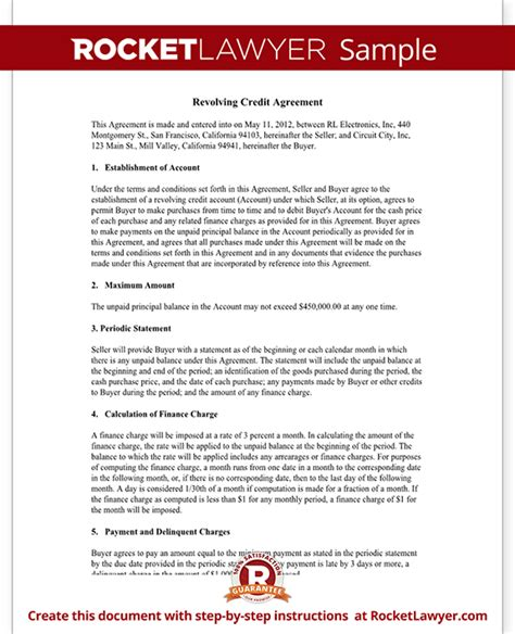 Copy Of Credit Agreement Template Letter Revolving Credit Agreement Revolving Line Of Credit Form Rocket Lawyer