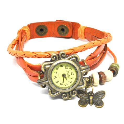 Jam Tangan Fashion Vintage jam tangan wanita style vintage orange jakartanotebook